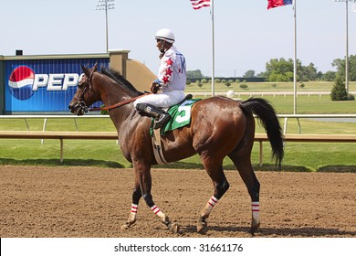 GRAND PRAIRIE,TX - JUNE 6th: Jockey riding his horse after race  at Lone Star Park Horse Race June 6th, 2009 in Grand Prairie, Texas.