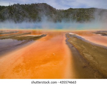 "Grand Prismatic Spring in Yellowstone National Park, the largest hot spring in the USA. Colors of the microbial ""mats"" depend on the ratio of chlorophyll to carotenoids, and on water temperature."