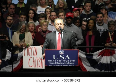 GRAND RAPIDS, MI - Australian Andrew Liveris, CEO of the Dow Chemical Company, accepts Donald Trump's offer to head the American Manufacturing Council, December 9, 2016 in Grand Rapids, Michigan.