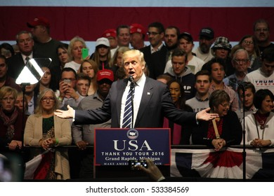 GRAND RAPIDS, MI - President-elect Donald Trump speaks, December 9, 2016 in Grand Rapids, Michigan. The President-elect appears the same day Michigan's highest court ceased the 2016 election recount.
