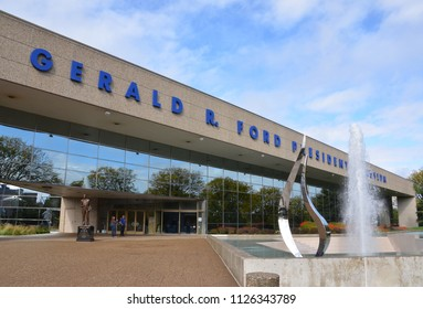 GRAND RAPIDS, MI / USA - OCTOBER 15, 2017:  The Gerald R. Ford Presidential Museum, shown here, is hosting an exhibit of Betty Ford in 2018, the 100th anniversary of her birth.