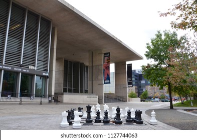 GRAND RAPIDS, MI / USA - OCTOBER 15, 2017:  A chess game outside the Grand Rapids Art Museum, awaits the next players.