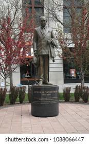 GRAND RAPIDS, MICHIGAN, APRIL 17: Arthur Vandenberg Statue near the entrance to Rosa Parks circle on April 17, 2010 in Grand Rapids, Michigan. Vandenberg was a United States senator.