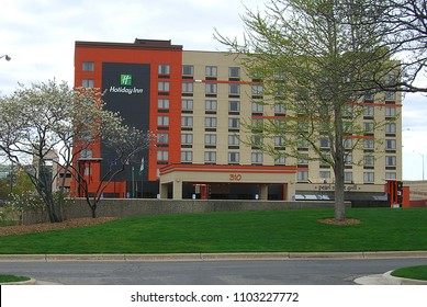GRAND RAPIDS, MICHIGAN - APRIL 17: Holiday Inn hotel chain on April 17, 2010 in Grand Rapids, Michigan. Grand Rapids is known for its many breweries and the Gerald Ford Presidential Museum.