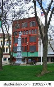 GRAND RAPIDS, MICHIGAN - APRIL 17: Kent County Civil War Monument on April 17, 2010 in Grand Rapids, Michigan. The monument was dedicated on September 17, 1885.