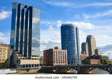 Grand Rapids, Michigan - October 10, 2014:   Along the Grand River in Grand Rapids, Michigan, are three of the city's largest hotels:  Amway Grand Plaza, JW Marriott, Courtyard by Marriott