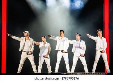 GRAND RAPIDS, MICHIGAN / USA - June 13, 2019: New Kids On The Block performs live at Van Andel Arena