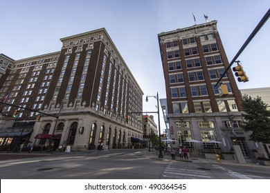 Grand Rapids, Michigan, USA - September 17, 2016: Monroe and Pearl Street in downtown Grand Rapids with the historical Amway Grand Plaza Hotel on the corner.