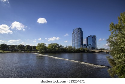 Grand Rapids, Michigan, USA - September 17, 2016: The Riverhouse  Condos building is the tallest building in Grand Rapids and is the tallest residential building in the state of Michigan.