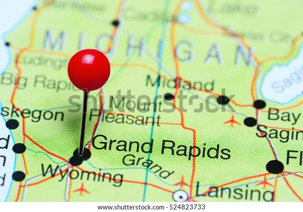 Grand Rapids Pinned On Map Michigan Business Finance Stock Image 524823733