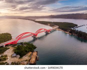 The Grand Red Holtekamp Bridge Crosses the Bay of Youtefa in Jayapura, Papua, Indonesia