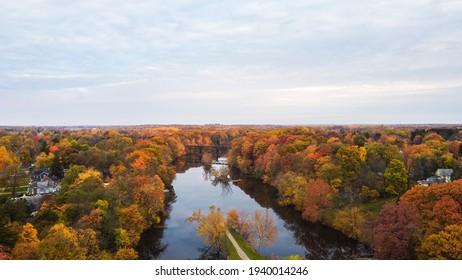 The grand river in grand ledge michigan