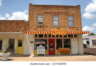 Grand Saline, TX - August 4, 2012: Retail shops in Historic Downtown Grand Saline named for large salt deposits near town.