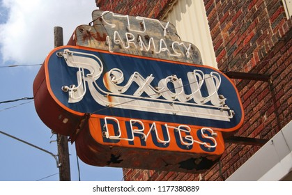Grand Saline, TX - August 4, 2012: Vintage City Pharmacy Rexall Drugs Sign in Historic Downtown Grand Saline named for large salt deposits near town.
