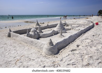 A grand sand castle on the beach at Siesta Key Florida outside of Sarasota.