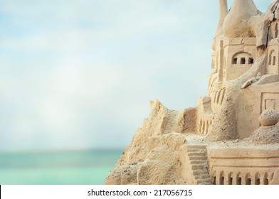 Grand sandcastle on the beach
