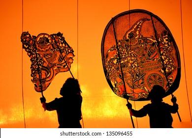 The Grand Shadow Play. Thai shadow puppet art at Rachaburi province, Thailand.