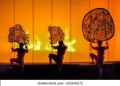 The Grand Shadow Play .Thai Shadow Puppet Art at Rachaburi Province , Thailand .