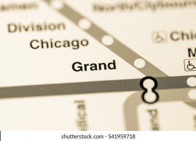 Grand Station. Chicago Metro map.