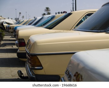 A lot of grand taxi on the parking in Marrakesh, Morocco
