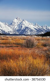 Grand Teton mountain in autumn season