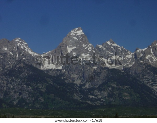 Grand Teton mountain from the east in the morning. At Teton National Park, Wyoming