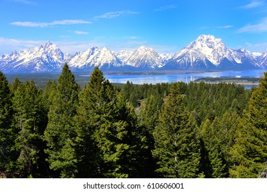 Grand Teton Mountain Range with Jackson Lake
