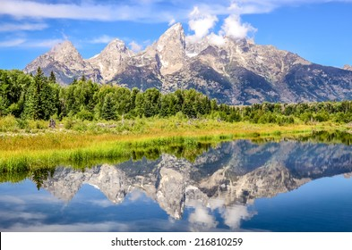 Grand Teton mountains landscape view with water reflection, Wyoming, USA