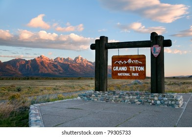 Grand Teton National Park sign in Wyoming.