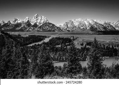 Grand Teton National Park at Snake River overlook black & white