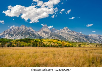 Grand Teton National Park in Wyoming, United States. Scenic landscape of Teton  Rocky Mountains. North America in summer season.