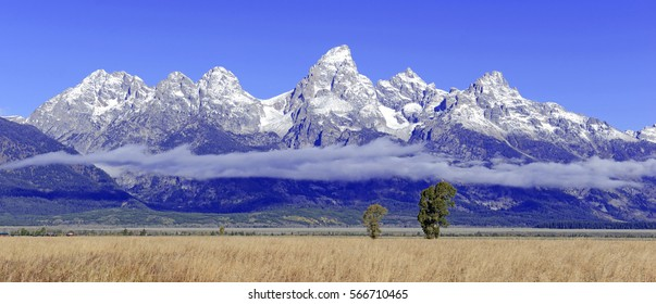 Grand Teton and the Teton Range, a popular peak to climb for mountain climbers in Grand Teton National Park, Wyoming, USA
