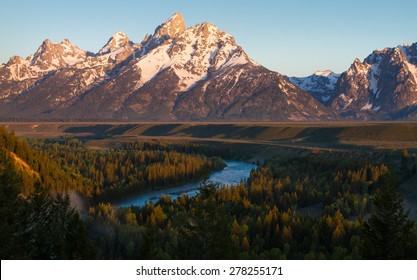 grand teton with the snake river flowing in the foreground through a forest at sunrise.