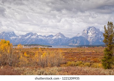 The Grand Tetons, Jenny Lake and Willow Flats in autumn color.