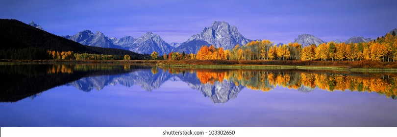 Grand Tetons and reflection in Grand Teton National Park, Wyoming