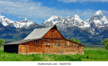 Grand Tetons and the T.A. Mouton Barn, Wyoming