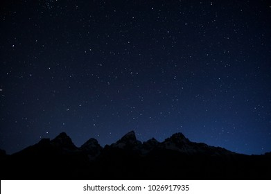 Grand Tetons and the Ursa Major (Big Dipper, the plough) constellation (incomplete), Grand Teton NP, WY, USA
