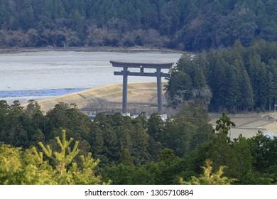 grand torii of ex. Kumano Hongu Taisha shrine, view from Kumano pilgrimage route in Wakayama, Japan