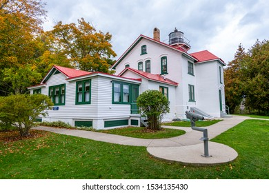 Grand Traverse Lighthouse in the fall near Northport, Michigan, USA.