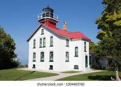 Grand Traverse Lighthouse near Northport, Michigan along Lake Michigan