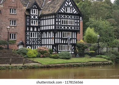 Grand Tudor-style house in Worsley, Greater Manchester, UK.