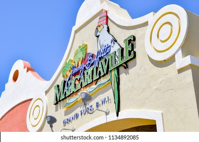 Grand Turk, Turks and Caicos Islands - April 03 2014: Sign at Jimmy Buffett's Margaritaville in Grand Turk in the Turks and Caicos Islands, BWI