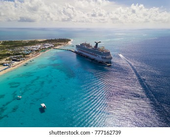 GRAND TURK, TURKS AND CAICOS-DECEMBER 11, 2017: The Carnival Sunshine cruise ship docks in Grand Turk in the Turks and Caicos Islands in this aerial view.