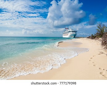 GRAND TURK, TURKS AND CAICOS-DECEMBER 11, 2017: The ship Carnival Sunshine docks at the island of Grand Turk in this editorial photo.
