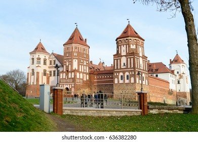 Grand view to Mir Castle in Minsk region - historical heritage of Belarus. UNESCO World Heritage. Traveling on Belarus. Ancient castle in town.