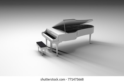 grand white piano isolated back ground 3d render