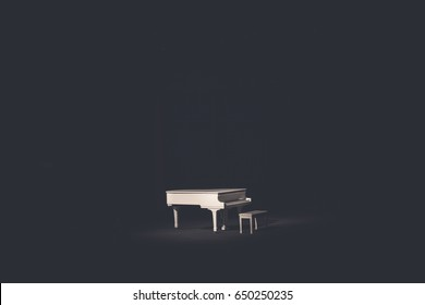 The grand white piano in a main hall concert.