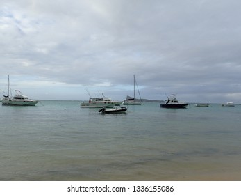 Grand-Baie/Mauritius - February 06 2016: Beach at Grand-Baie. Grand-Baie (or sometimes Grand Bay) is a coastal village in Mauritius located in Rivière du Rempart District.