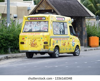 Grand-Baie/Mauritius - February 06 2016: Ice cream car at Grand-Baie. Grand-Baie (or sometimes Grand Bay) is a coastal village in Mauritius located in Rivière du Rempart District.