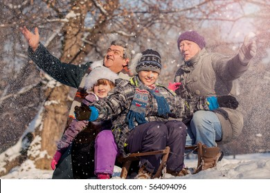 grandchildren with grandparents on sleigh,winter snowy day